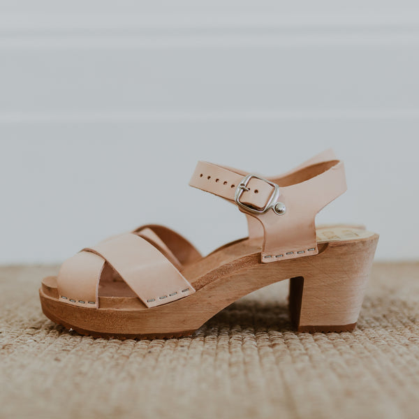 bridal wedding natural undyed leather crossover sandal swedish clog