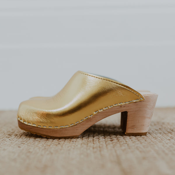 bridal wedding gold classic-style swedish clogs