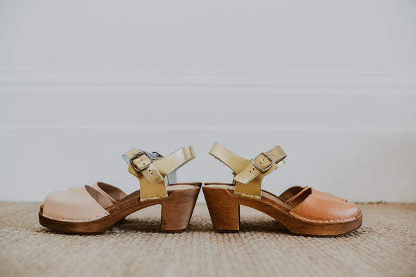 natural and gold two tone mid heel peep toe clog sandals before and after sun exposure darkens the undyed leather