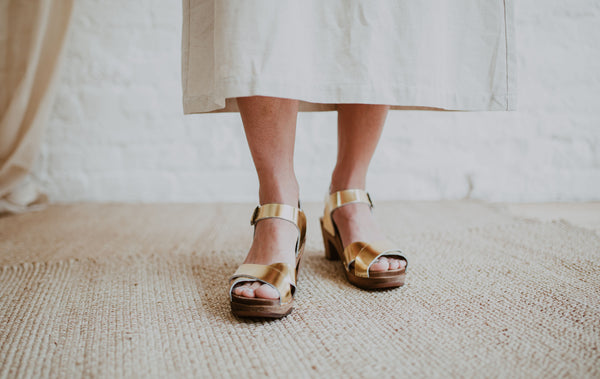 bridal wedding gold leather crossover sandal swedish clog