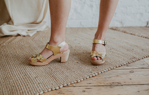 bridal wedding gold leather woven cross over clog sandals
