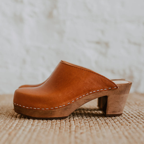 cumin tan brown coloured classic style swedish clog with a mid heel
