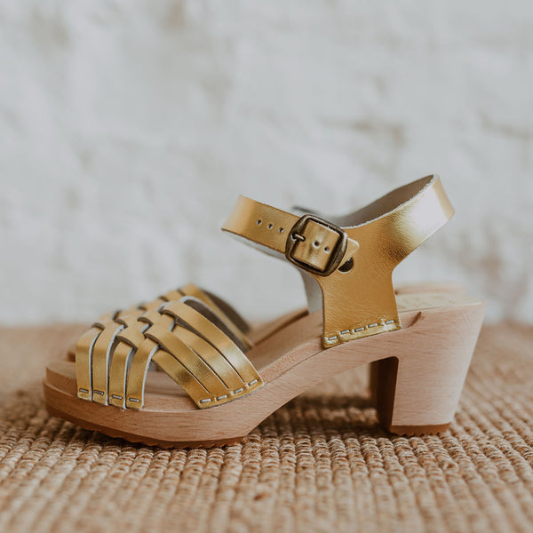 bridal wedding gold woven swedish clog sandal