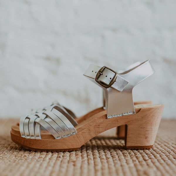 bridal wedding silver woven swedish clog sandal
