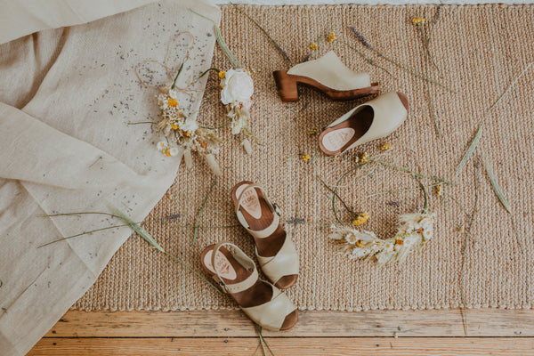 stone coloured clog sandals with bridesmaids dried flower crowns