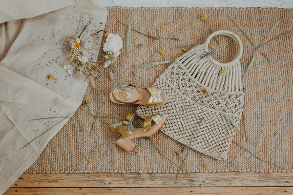 bridal wedding gold leather woven cross over clog sandals with woven basket bag and dried flower crown