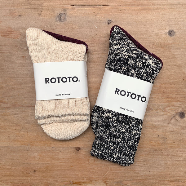 rototo black and ecru marl socks