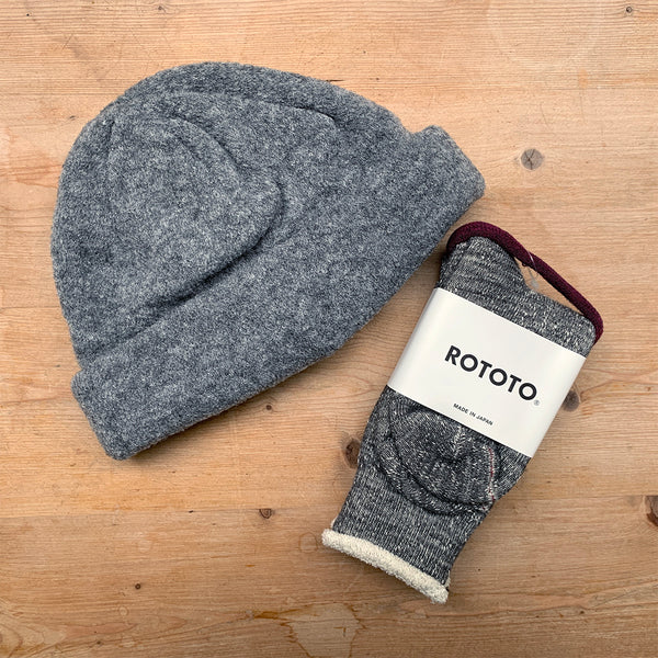 charcoal rototo socks and hat