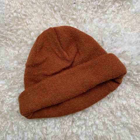 burnt orange knitted beanie hat
