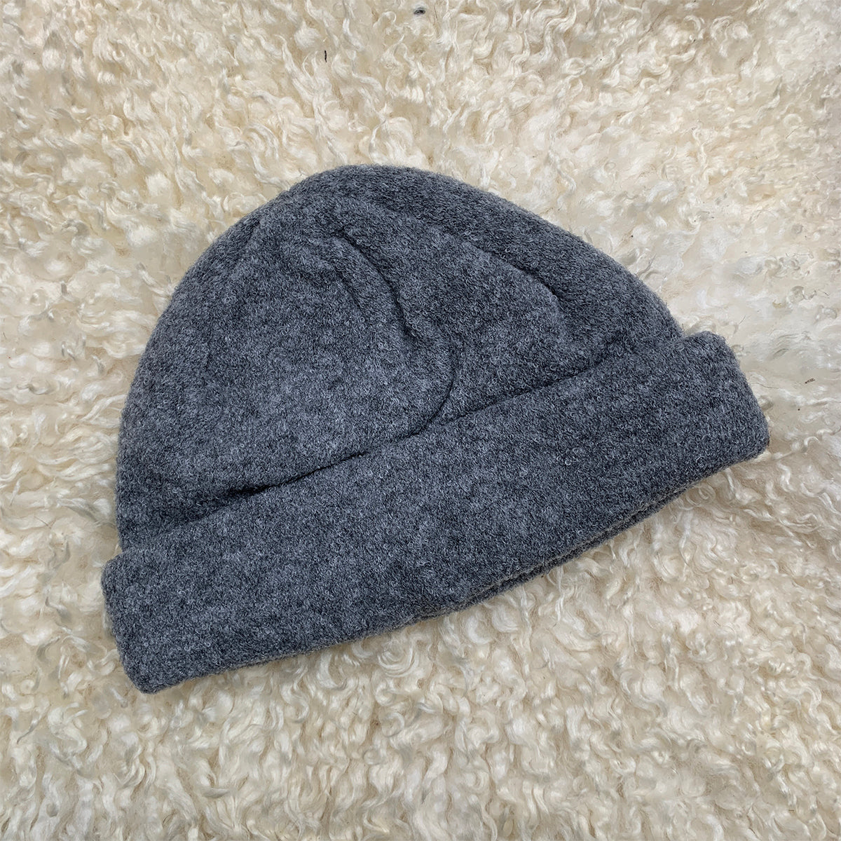 grey knitted beanie hat
