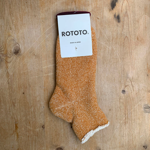 dark yellow double face ankle socks rototo
