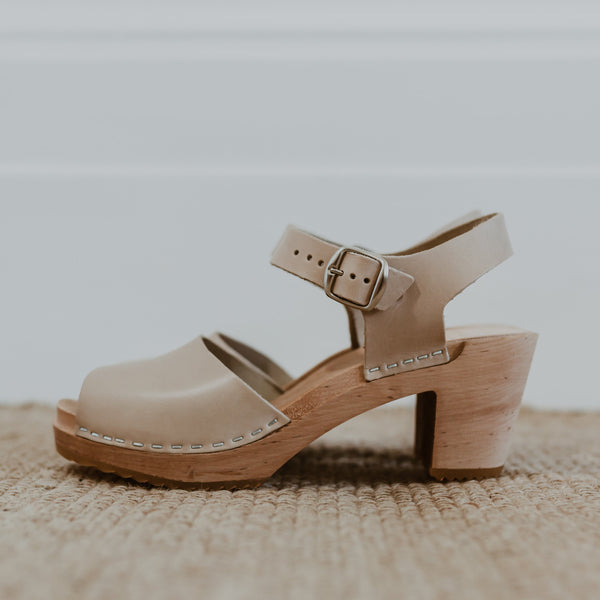 bridal wedding stone beige mid heel peep toe clog sandals
