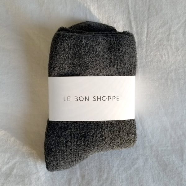 cosy charcoal grey ankle length terry cotton socks