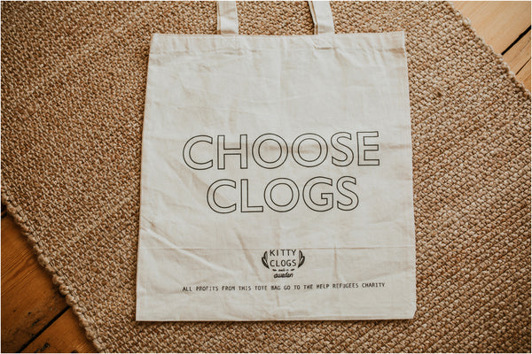 choose clogs charity tote bag
