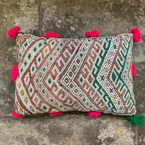 Fringed One Off Hand Embroidered Moroccan Berber Cushion