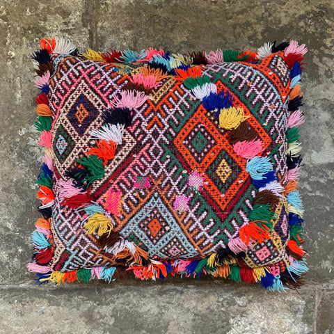 Square Fringed One Off Hand Embroidered Moroccan Berber Cushion