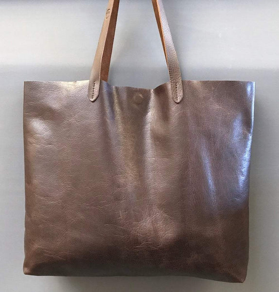 Handmade brown leather tote bag