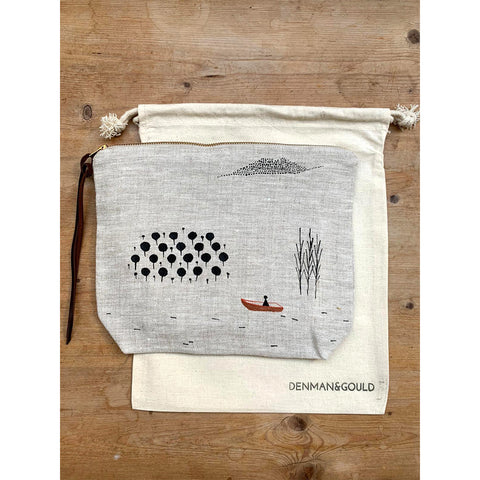 denman gould handpainted zipped pouch boat design
