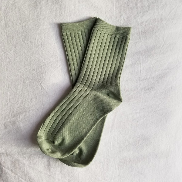sage green ribbed knitted ankle sock