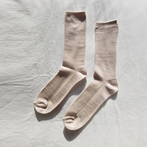 Trouser socks in eggnog