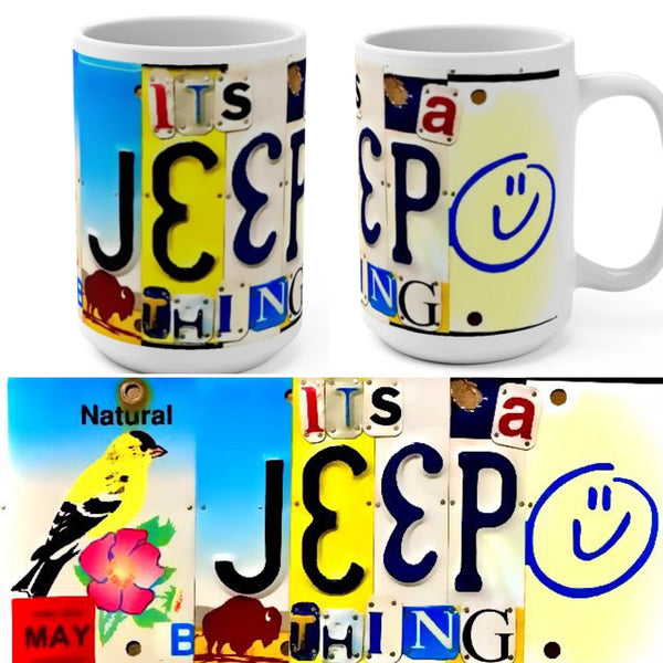 It's A Jeep Thing License Plate Art Inspired Mug 15oz (Free Shipping)