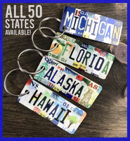 State keychains, United States keychains, license plate keychains, New York keychain, Texas Keychain, California keychain, bag tag