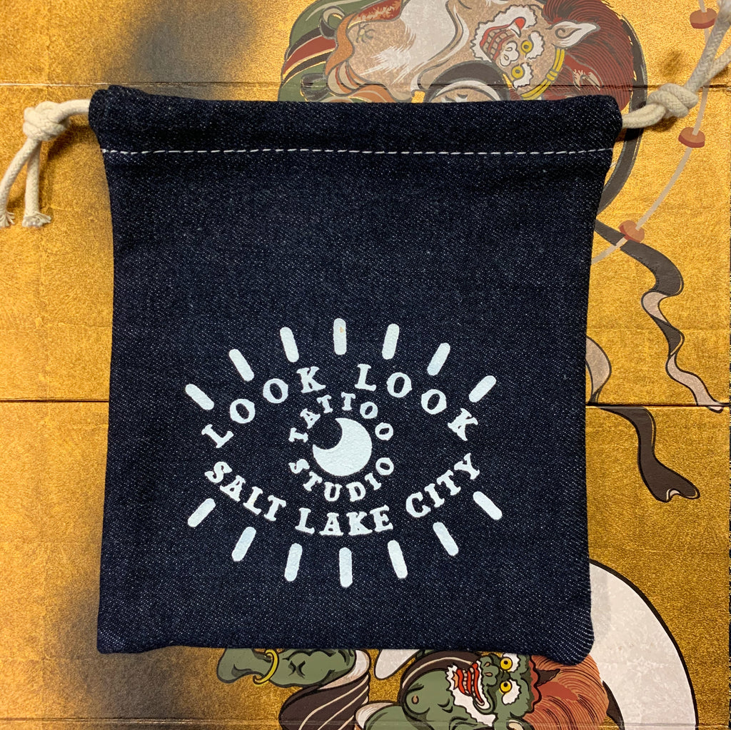 Denim Eye Drawstring Bag