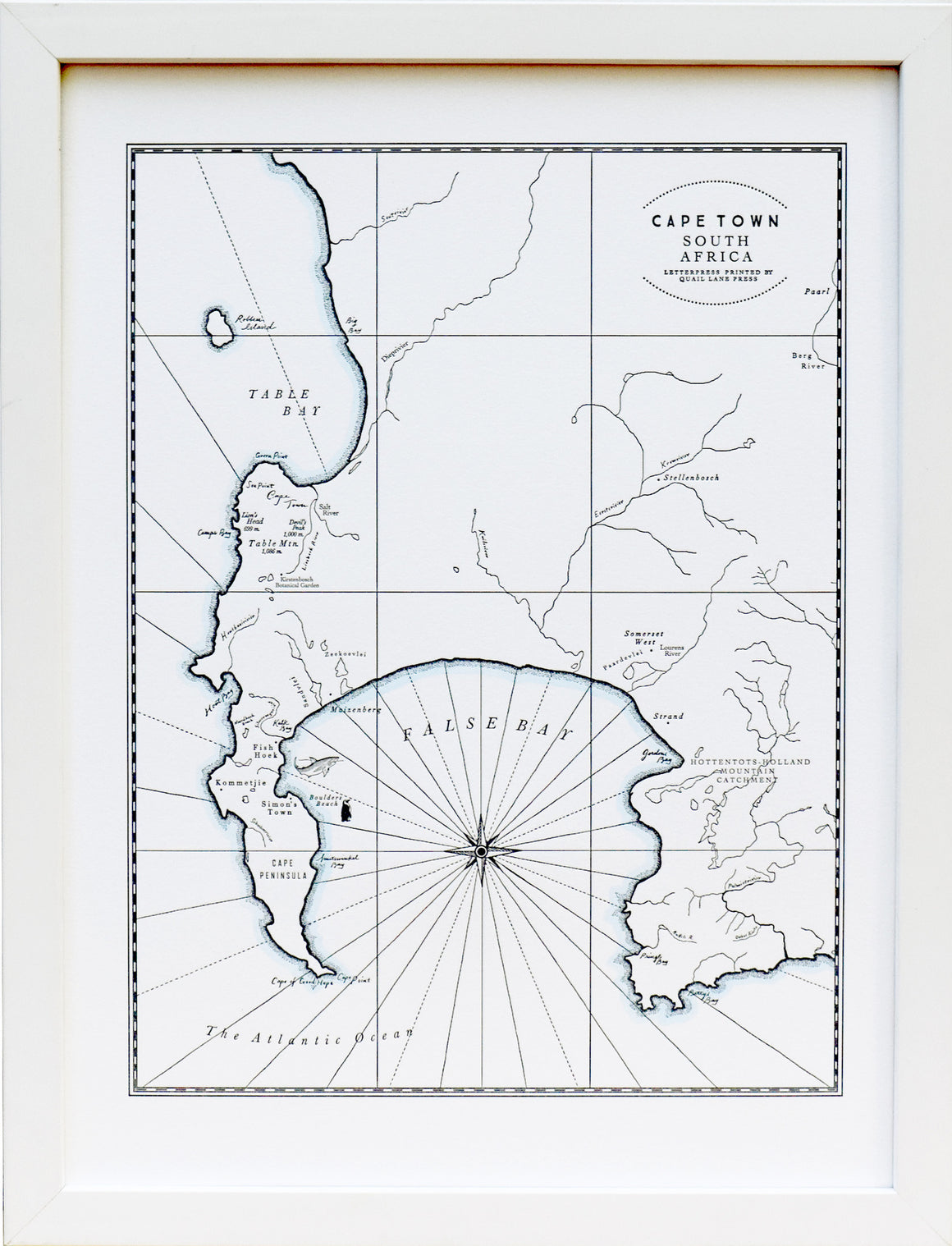 Cape Town, South Africa Letterpress Map