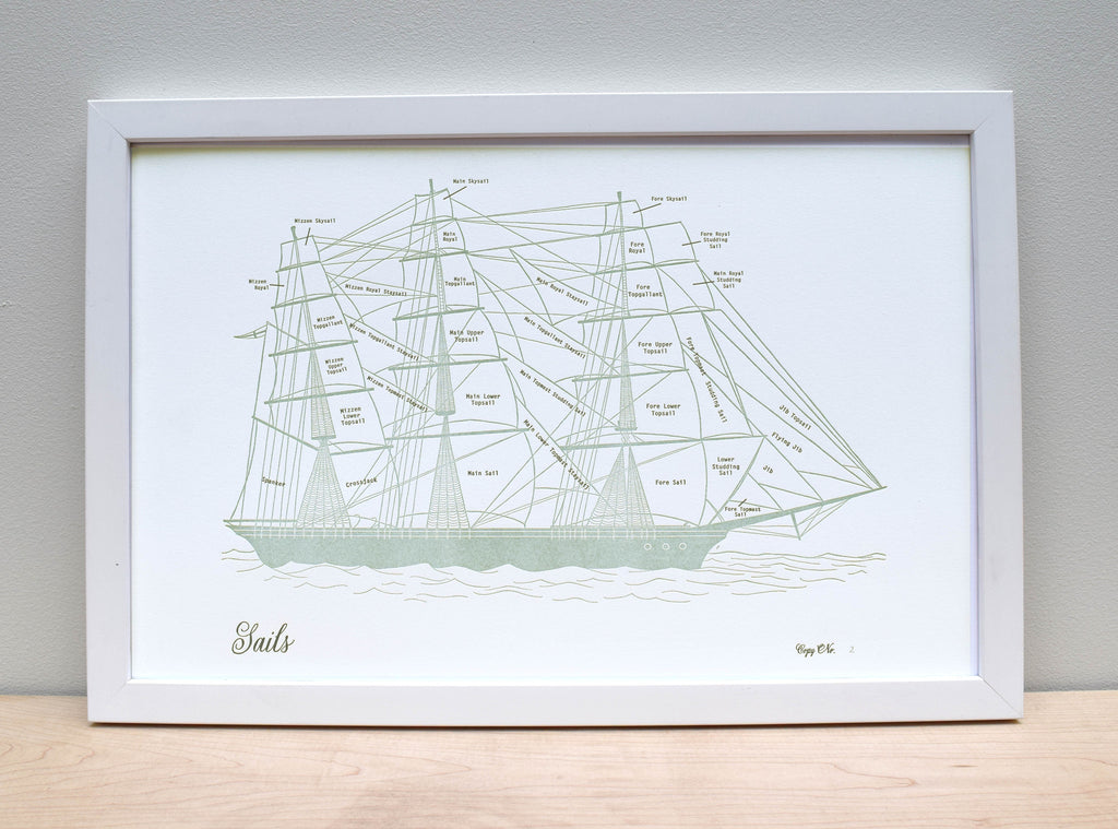 Clipper Ship Sail Chart, Letterpress Print