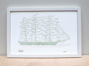Clipper Ship Sail Chart, Letterpress Art Print