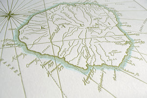 Kauai, Hawaii Letterpress Map Print