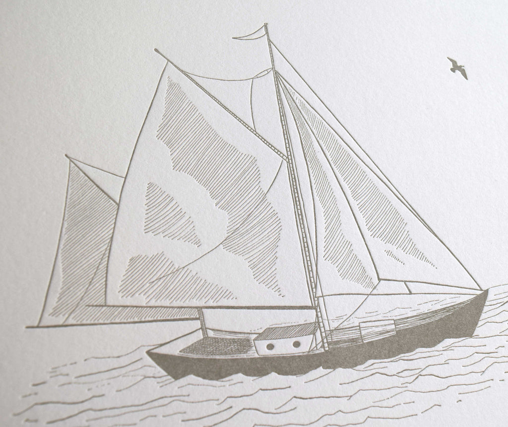 Sailboat, Figure I, Lettepress Print