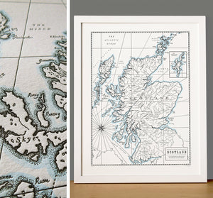 Scotland, Letterpress Map Print