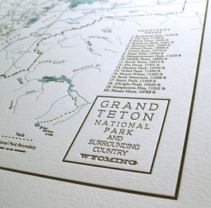 Grand Teton National Park, Jackson Hole, Wyoming Map Print