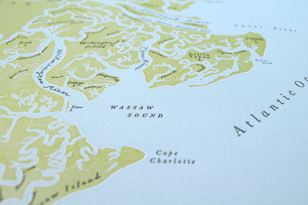 Savannah Georgia, Letterpress Map Print