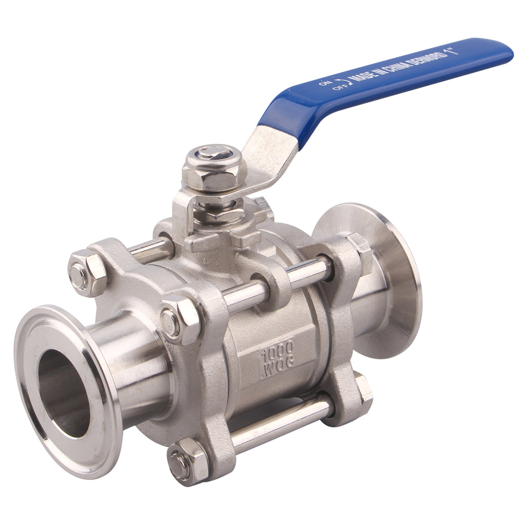"Sanitary Ball Valve | Fits 1.5"" Tri-Clamp Clover 