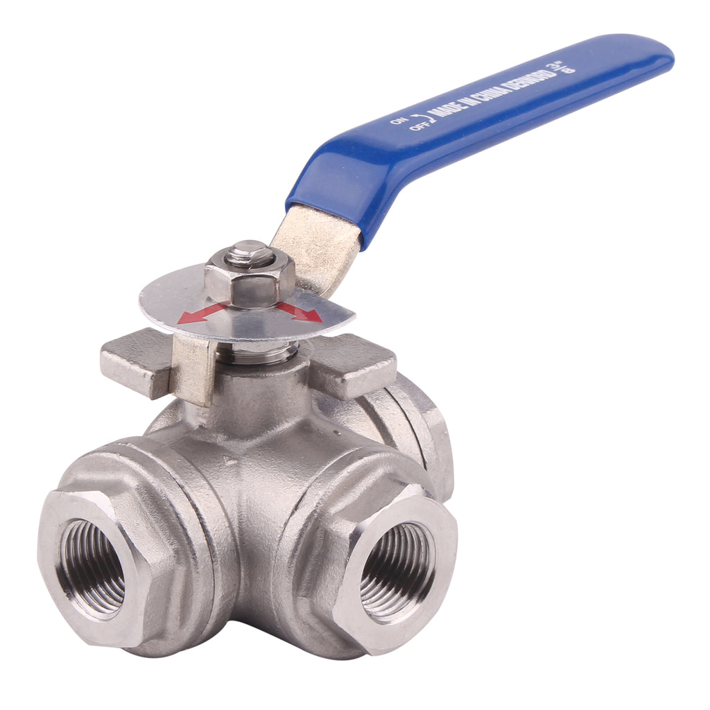 3-Way Ball Valve | L Mounting Pad | Stainless Steel 304 Female Type