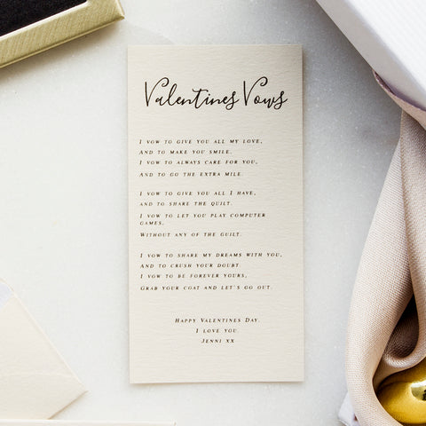 Personalised Valentines Day Vows Poem Keepsake