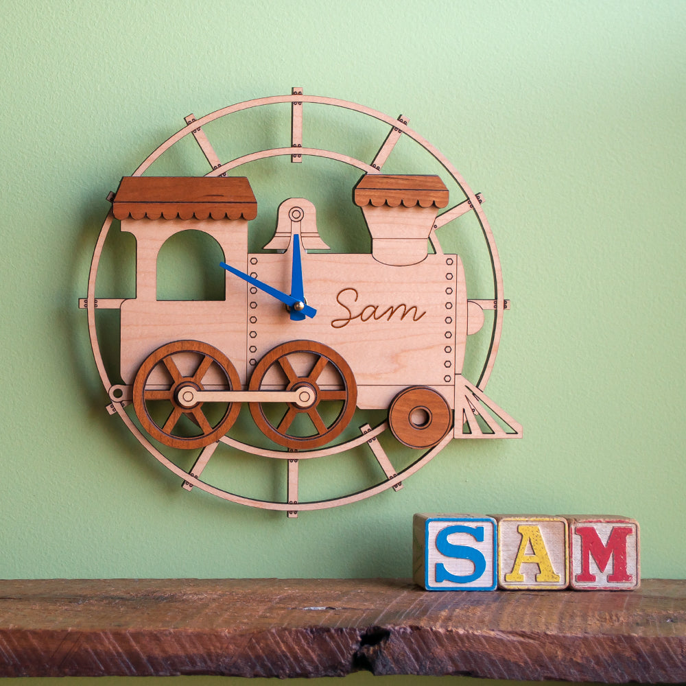 Handmade orignal personalized wooden train clock by Graphic Spaces