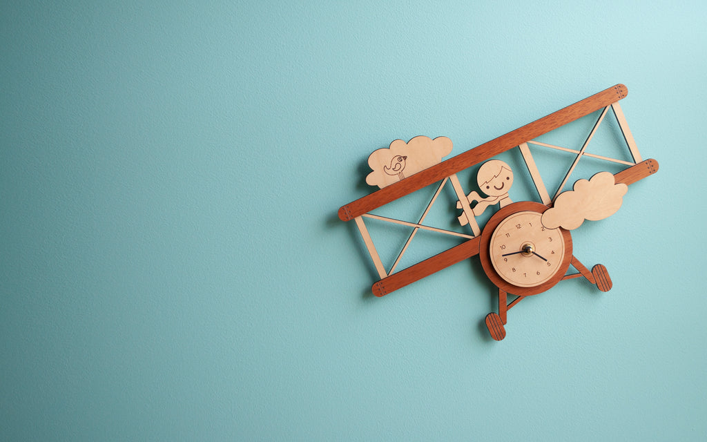 Wooden Airplane Nursery Clock Personalized