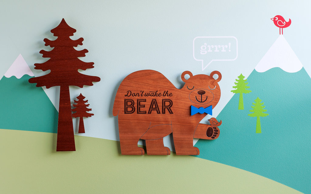 Wooden Bear Wall Sign