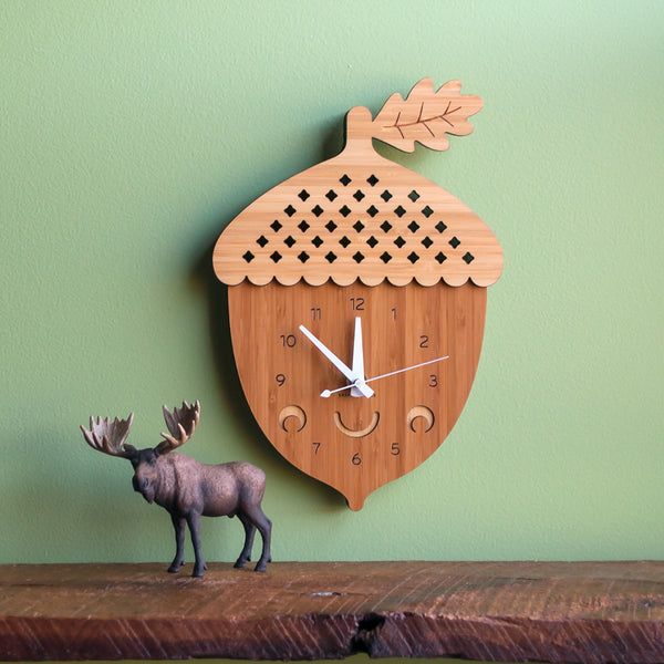 Happy Acorn Bamboo Wall Clock