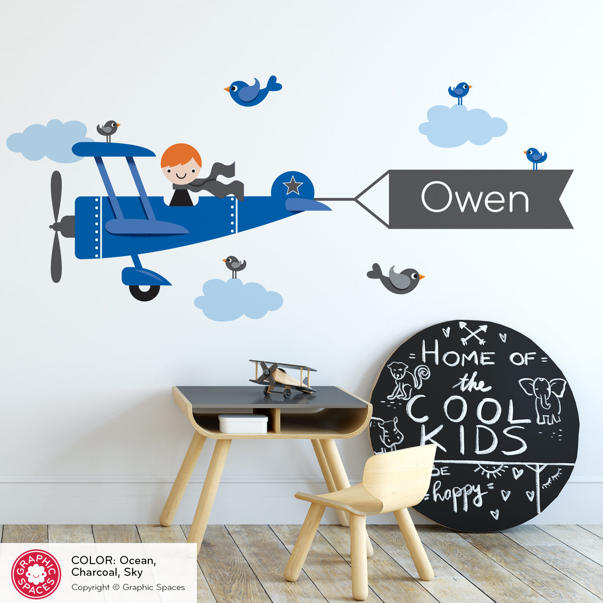 Airplane Boy Name Banner Fabric Wall Decal