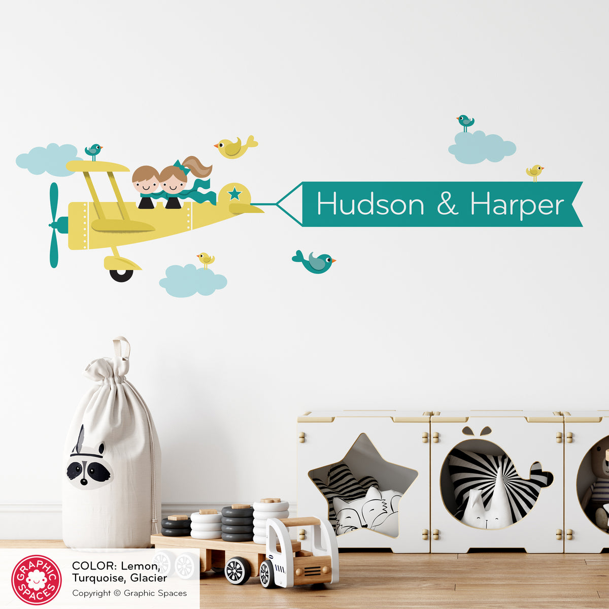 Airplane Siblings Name Banner Fabric Wall Decal