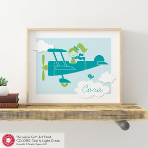 Airplane Girl Art Print