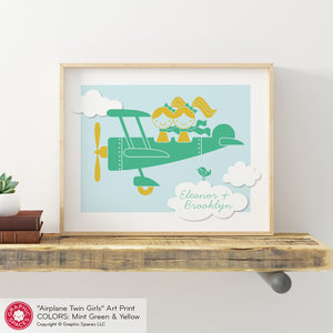 Airplane Sisters Art Print