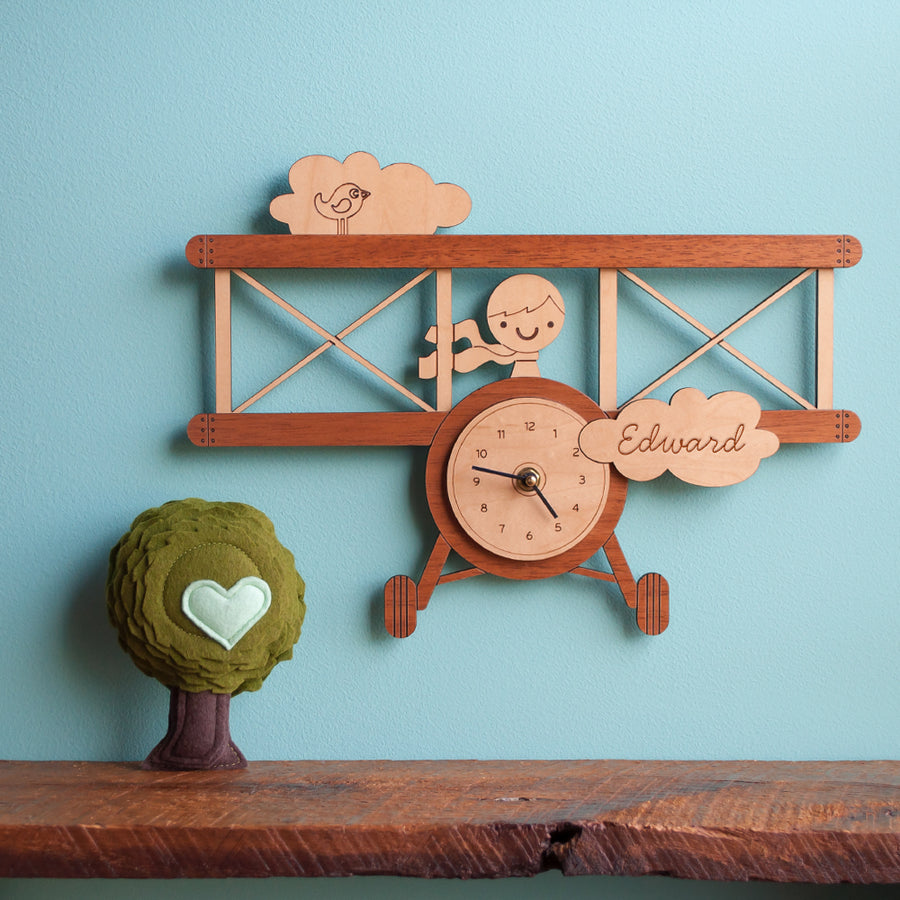Airplane Wooden Wall Clock: Boy