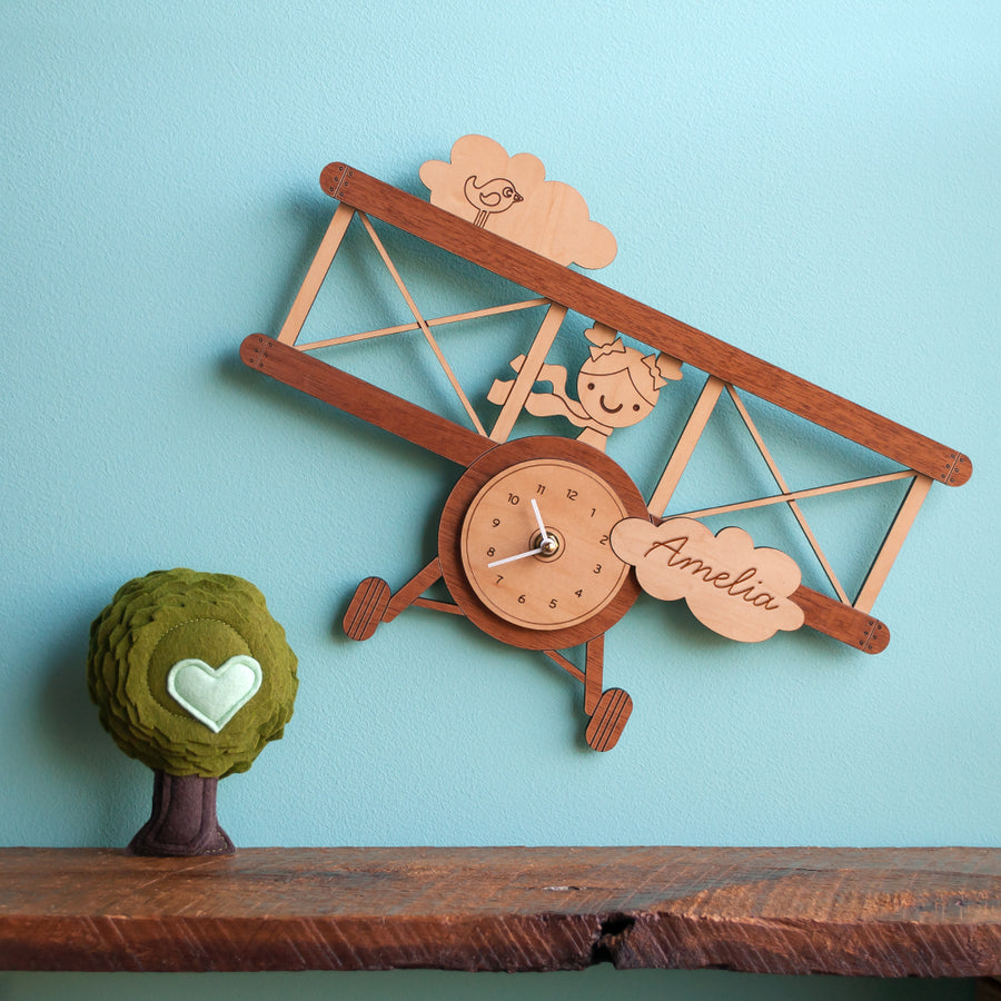 Airplane Wooden Wall Clock: Girl