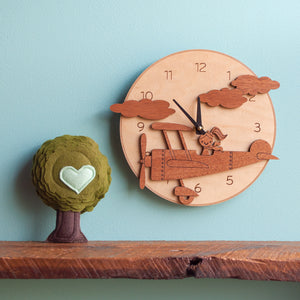 Round Airplane Wooden Wall Clock: Girl