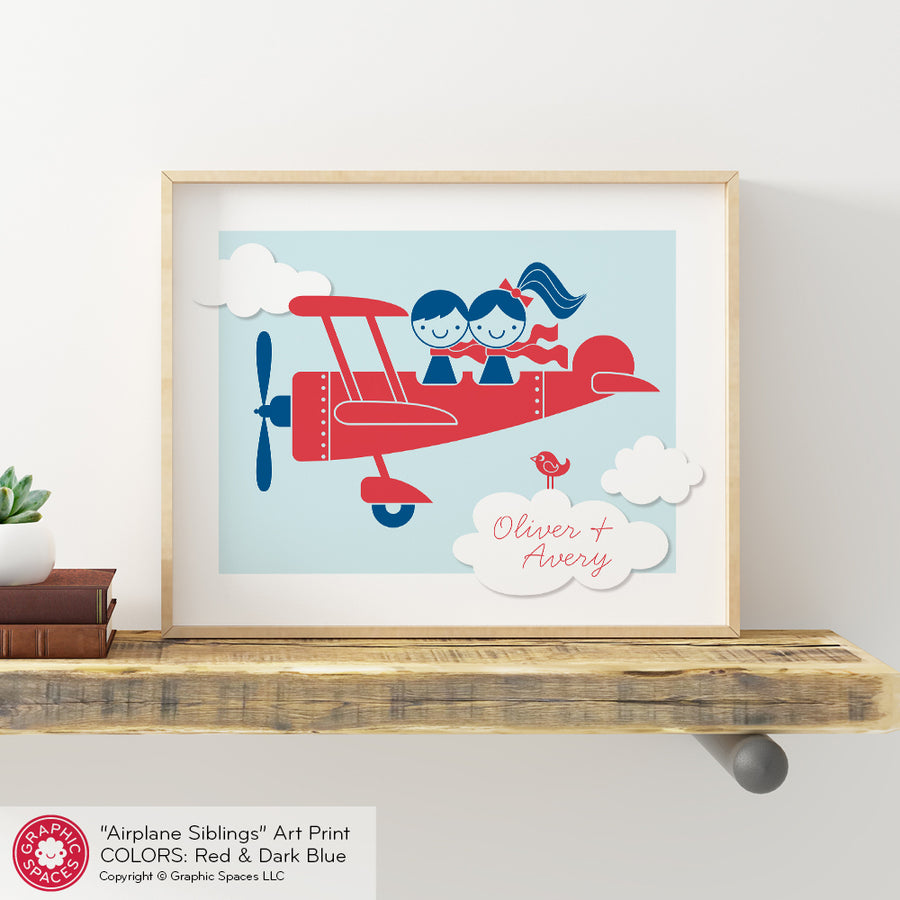 Airplane Siblings Art Print
